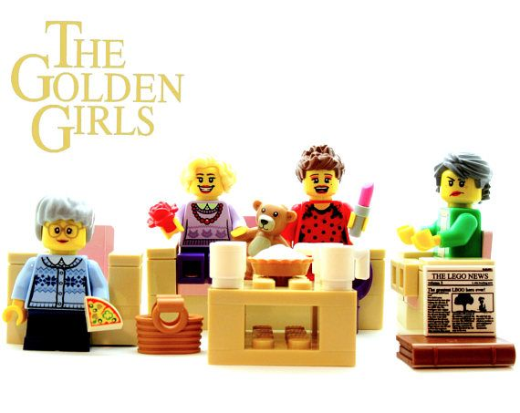 Thank you for being a friend! This listing is for a set of 4 Golden Girls® figures crafted from authorized LEGO® branded products. I never compromise design or quality when selecting the parts for my custom assembled figures. For all options, mini Dorothy, Sophia, Blanche and Rose come with 13 ACCESSORIES (see list below) including 1 cheesecake & 4 white coffee mugs. Your set will arrive assembled (but NOT glued) in 5 individual GIFT BOXES decorated with building block washi tape (3rd pic...