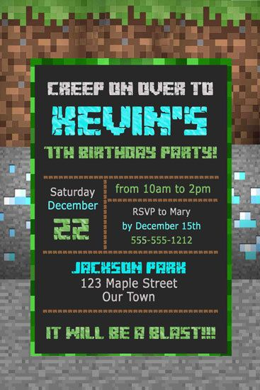 Best 25 minecraft invitations ideas on pinterest mind craft invitations inspired by video game minecraft photo birthday party custom printable u print on etsy solutioingenieria