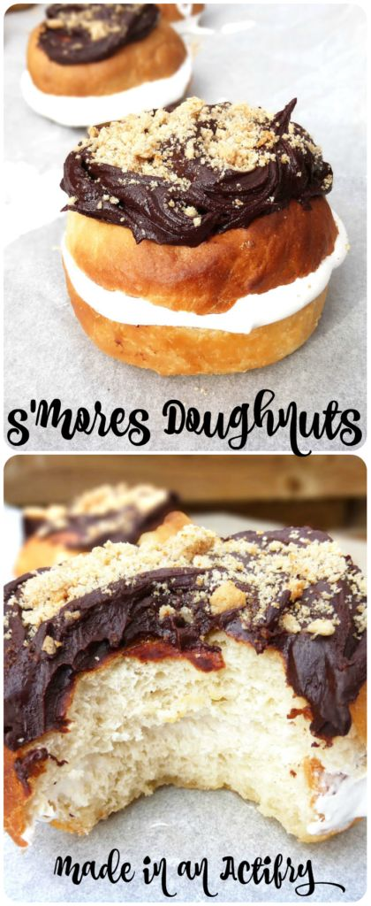 The combination of two American classics: S'mores and donuts. These donuts were made in an Actifry, filled with marshmallow crème and topped with chocolate and homemade Graham crackers. What a treat! #donuts #dessert #s'mores #actifry