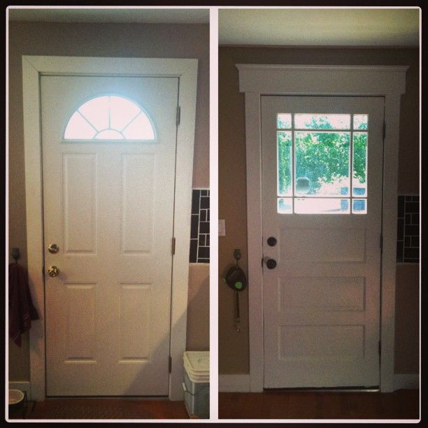 new door out, old door in - 1913 home remodel