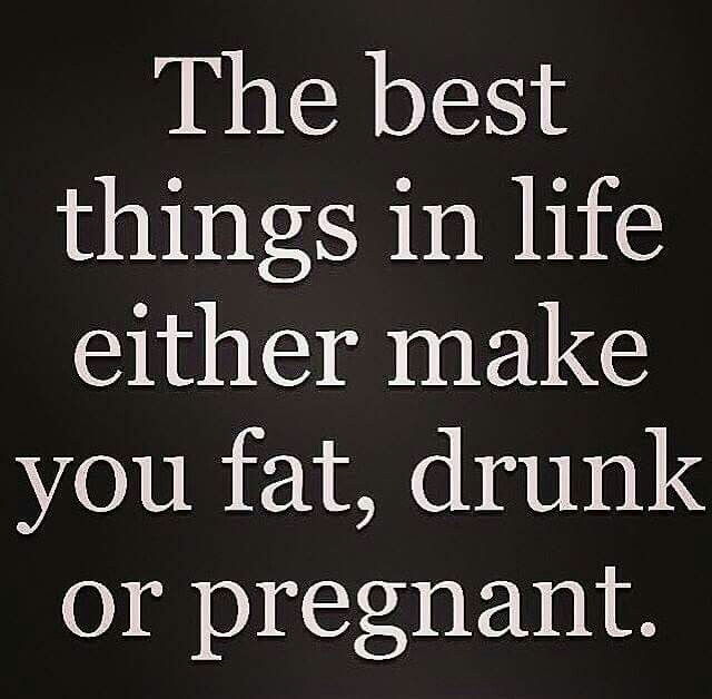 The best things in life either make you fat drunk are pregnant