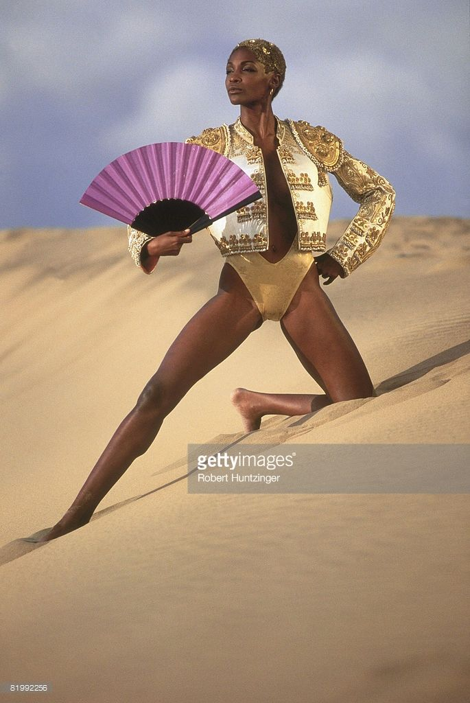 Model Roshumba Williams poses for 1992 Sports Illustrated Swimsuit issue on November 1, 1991 in Girona, Spain. PUBLISHED IMAGE.