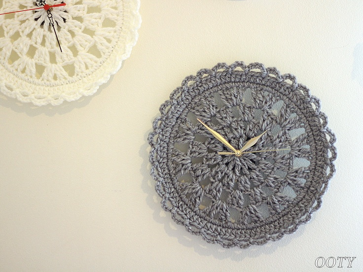 Lacy Gray Clock Crochet. Wall Art for your home.. $35.00, via Etsy.