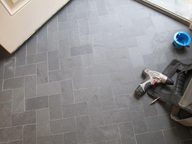 slate tile mudroom ideas | One of my favorite things...the herringbone pattern.