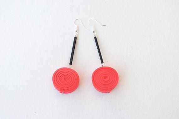 Coral and black earrings spiral earrings foam by elfinadesign