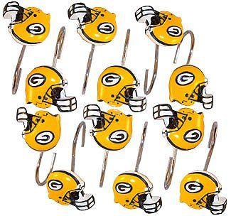 Amazon.com: Green Bay Packers Bathroom Shower Curtain Hooks Rings Set:  Bedding U0026
