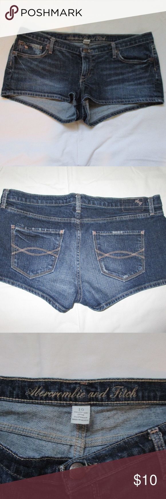 Abercrombie and Fitch jeans shorts Abercrombie and Fitch jeans shorts.  Size 10.  99% cotton, 1% spandex. In good condition. Right pocket area slightly discolored (see photo). Abercrombie & Fitch Shorts Jean Shorts