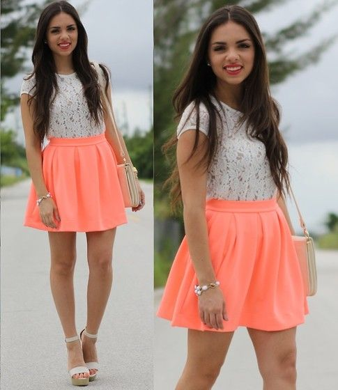 Coral popSummer Fashion, Summer Outfit, Style, Design Clothing, Neon, Dresses, White Lace Tops, Circles Skirts, Coral Skirts