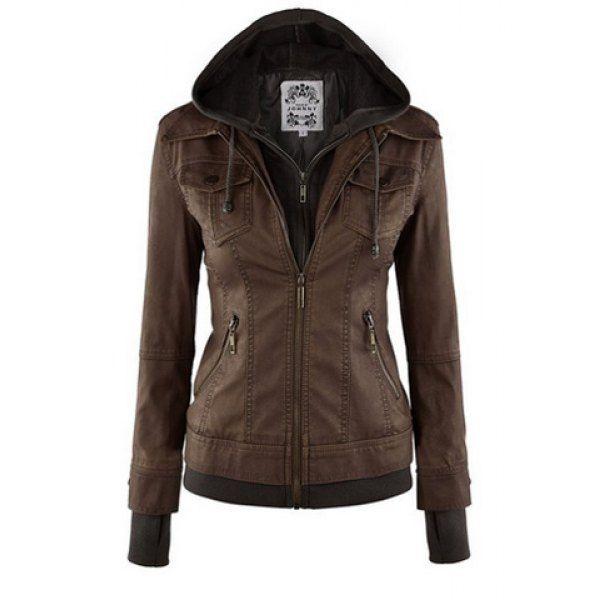 Trendy Hooded Long Sleeve Faux Twinset Pocket Design Women's Jacket (BROWN,XL) in Jackets & Coats | DressLily.com