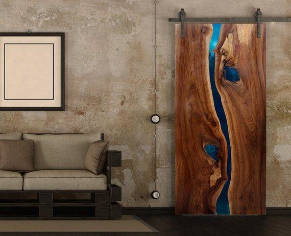 Live Edge Resin Doors Stunning River Doors Custom Made For Etsy Wood Doors Interior Live Edge Table Natural Edge Wood
