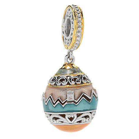 160-090 - Gems en Vogue Yellow Chalcedony Flip-open Easter Egg Drop Charm