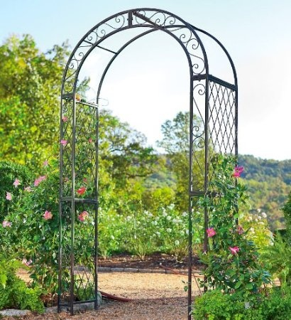 Amazon.com: Powder Coated Iron Scrollwork And Lattice Garden Arbor: Patio, Lawn & Garden $139.99 Plow & Hearth