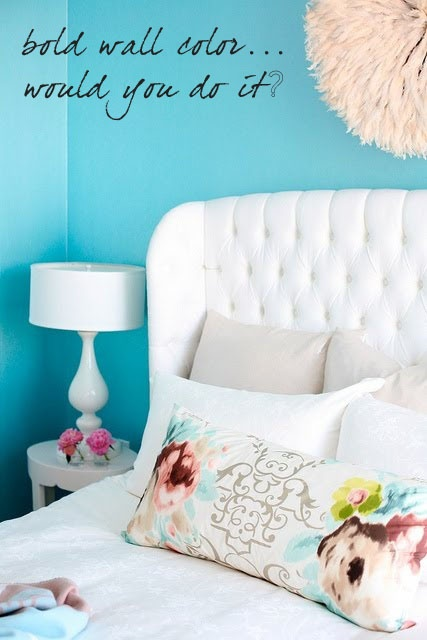 The Peak of Tres Chic: Bold Wall Colors in the Bedroom... Would You Do It?: Design Homes, Tufted Headboards, Bright Color, Wall Color, Lighting Fixtures, House, Bedrooms, Pillows, Crosses Decoration