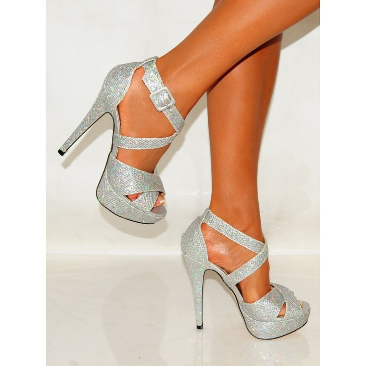 Silver Strappy Heels | Koi Couture Ladies J5 Silver Shimmer Strappy High Heels - Footwear ...