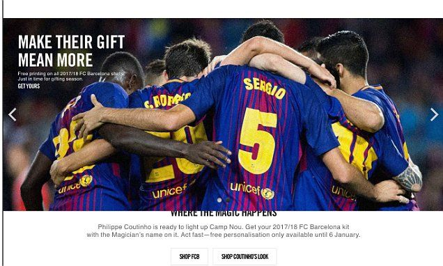 Nike Barcelona website hints at move for Philippe Coutinho