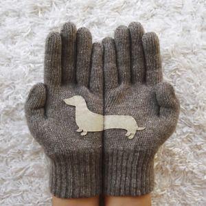 ダークベージュ - ドッグ 心も暖まるほっこり手袋