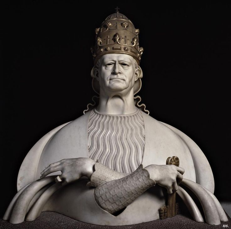 Bust of Pius XI. 1931. Adolfo Wildt. Italian. 1868-1931. marble with gilt.        Vatican Museum.