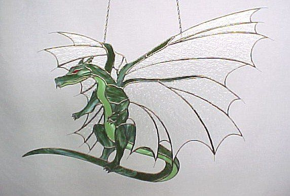 free dragon stain glass pattern | Dragon Stained Glass Pattern - Pattern Collections