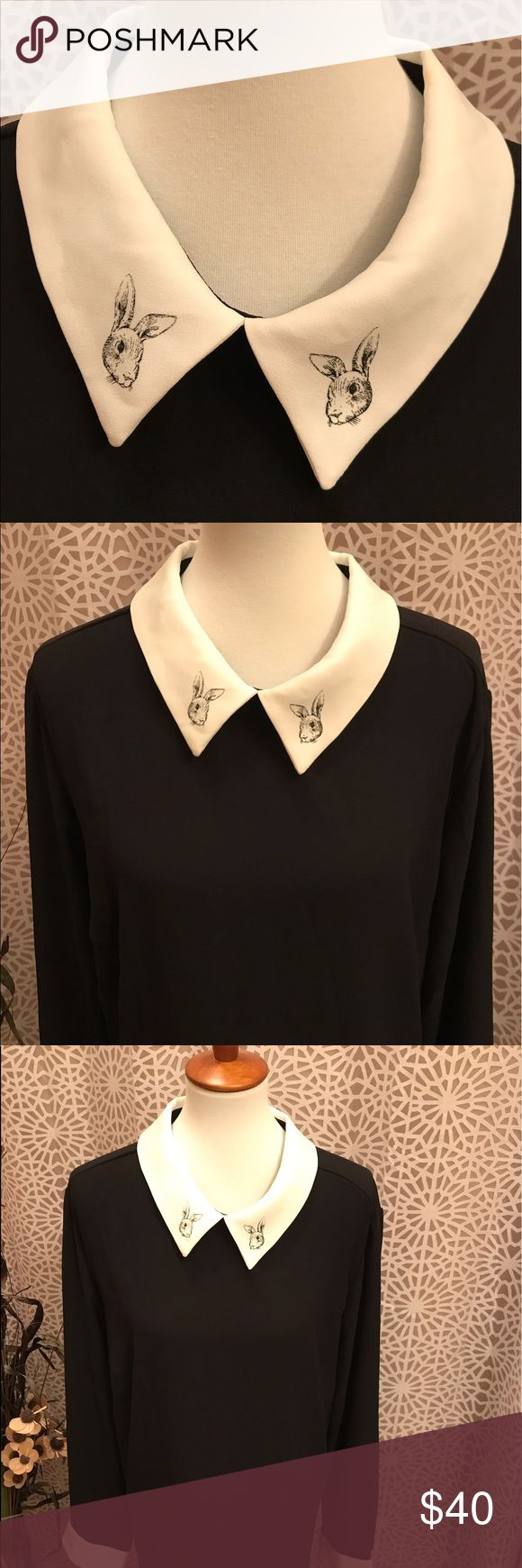 3X Plus Size Black and White Rabbit Collar Dress The rabbit collar turns this long sleeve black and white long sleeve dress into a total statement piece. In excellent condition. Zips up the back. 100% polyester. Victoria Beckham for Target Dresses Long Sleeve