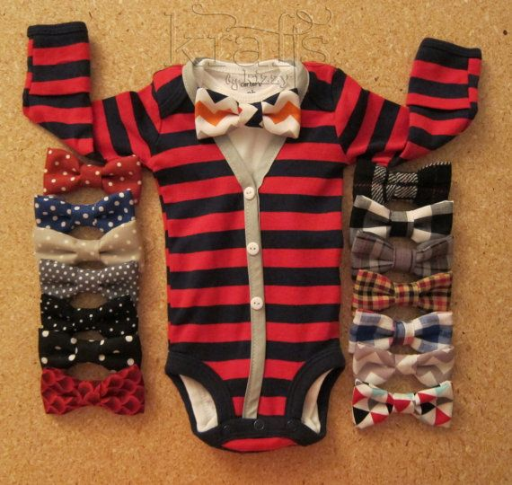 Baby Boy Red/Navy Stripe with Grey Cardigan Outfit with Your Choice of 1 Removable Bow Tie on Etsy, $35.00