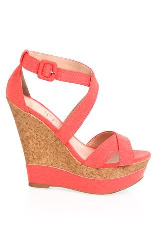 Deb Shops #coral strappy platform #wedge with cork wedge trim
