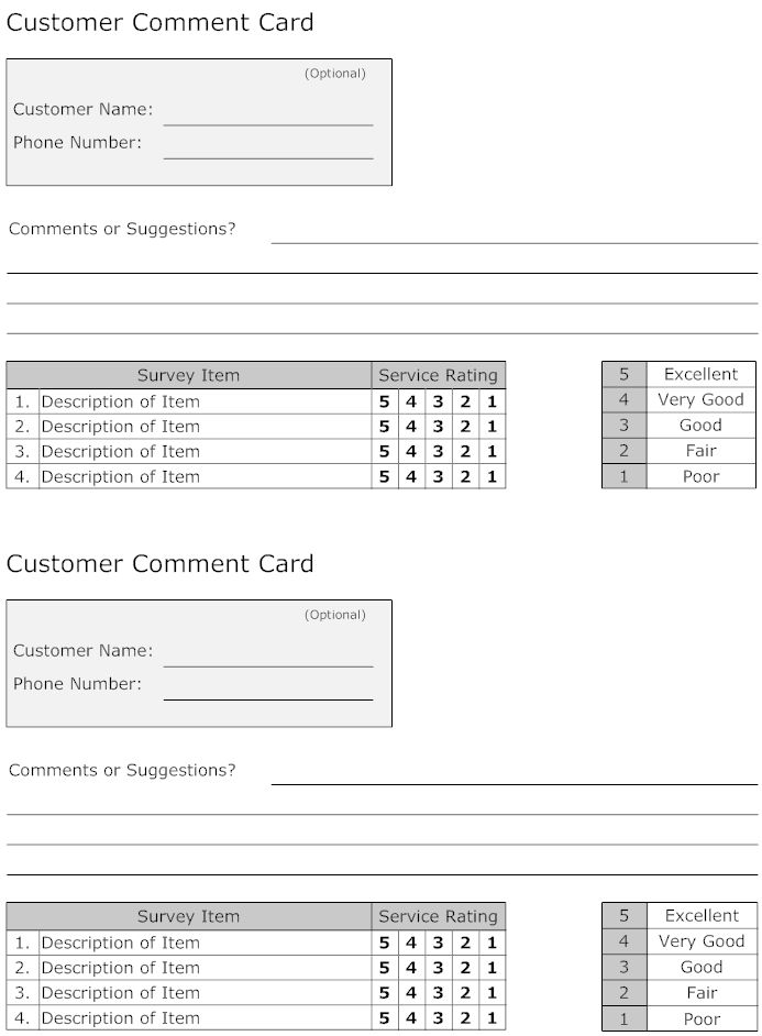 example image  customer comment card