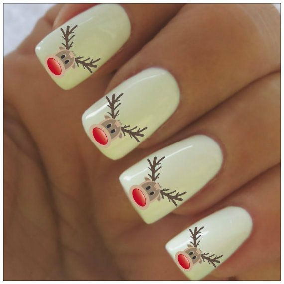 Christmas Nail Decals Rudolph Reindeer 40 Water by NailPretties, $3.95