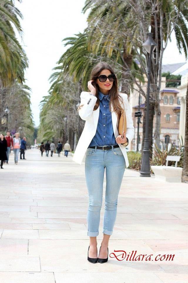 Sonbahar Icin Gunluk Bayan Kot Pantolon Kombinleri Buz Mavisi Skinny Jeans Uzun Beyaz Blazer Ve Kot Gomlek Dil Moda Stilleri Moda Kiyafetler Kis Kiyafetleri