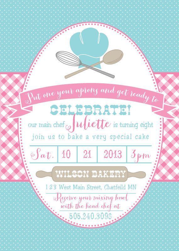 Baking Birthday Party Invitations by DelightPaperie on Etsy, $20.00