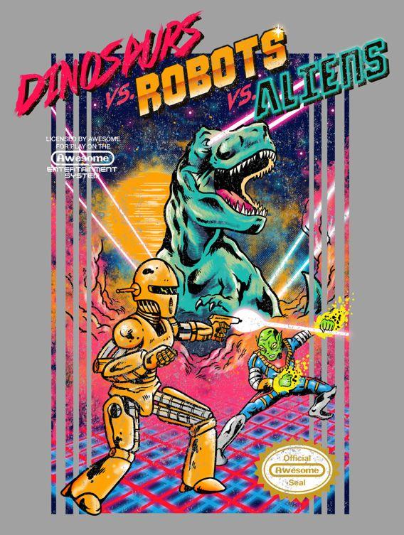 Now in Threadless: Dinosaurs vs. Robots vs. Aliens on Behance