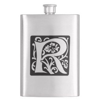 Elegant Medieval Letter R Antique Monogram Hip Flask