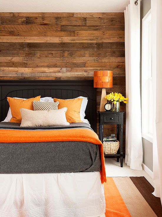 Hunters Orange + Weathered Wood + Gray... Love the weathered wood look with the orange!!! Boys room!! :)