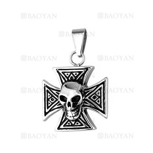 colgante de santa cruz con craneo en acero plateado inoxidable para hombre -SSPTG1131468