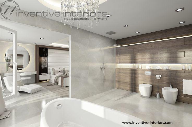 Projekt domu z widokiem Inventive Interiors - salon kąpielowy połączony z sypialnią