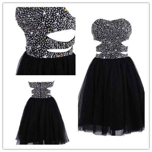 Tidetell.com Exquisite A-line Sweetheart Tulle Homecoming Dress with Rhinestone, black homecoming dresses, beaded homecoming dresses, tulle homecoming dresses, strapless homecoming dresses, short prom dresses, sexy prom dresses, party dresses
