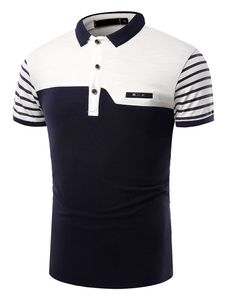 Polo de los hombres Turndown Collar Striped Short Sleeve Botones Decor Color Block Casual Top