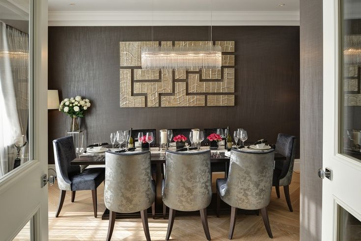 Dining Room Brown & Gold Interior Luxurious Feel Velvet Dining ...