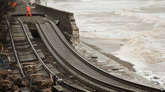 Coastal erosion in Devon, February 2014