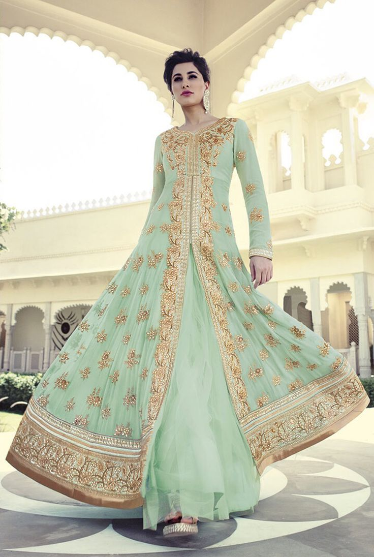 Nargis Fakhri Light Green Georgette Designer Anarkali Suit 61848