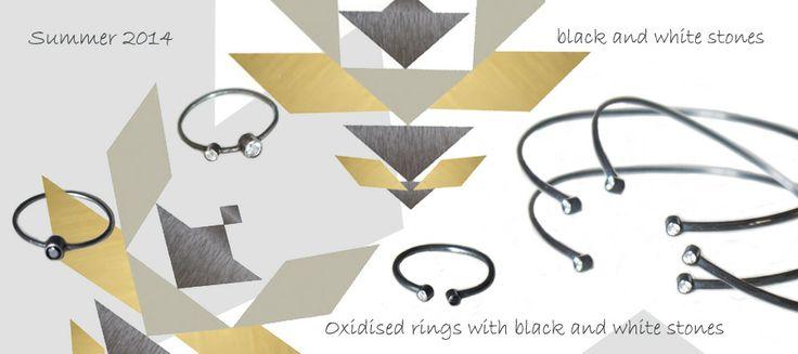 sorte/hvide ædelsten, sølv og guld smykker