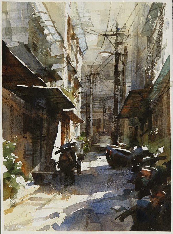 【永和巷弄.】27*36CM,2012 Watercolour,ARCHES ............By Chien Chung Wei