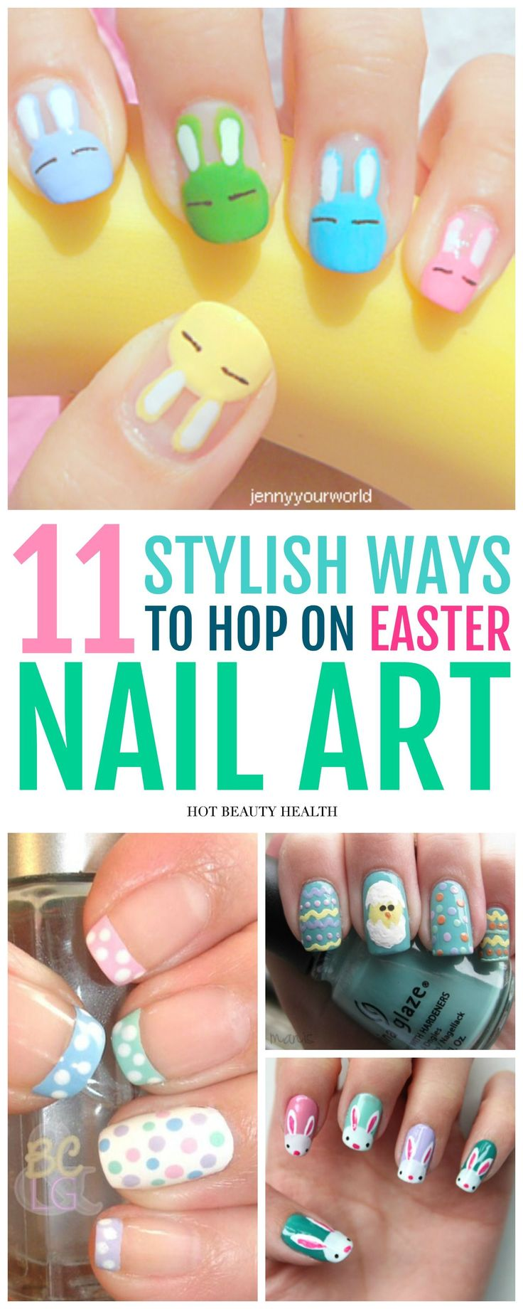 Here's a curated list of 11 DIY easter nail art designs with the hottest nail color shades for the spring season! They're easy to recreate and super fun to do. From simple ideas like pastel shades to easter eggs and cute bunnies, click pin to find a step by step tutorial for you! Hot Beauty Health #nailart #easternailart #easter #diynails #nailtutorials