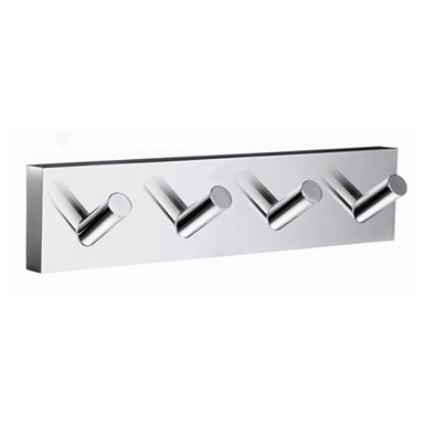 House - Quadruple Towel Hook in Polished Chrome. Concealed fastening. Length 178 mm. Combining an angular mounting plate contrasting to the soft curves of each functional part. The core material is solid brass, finished in brushed or polished chrome.