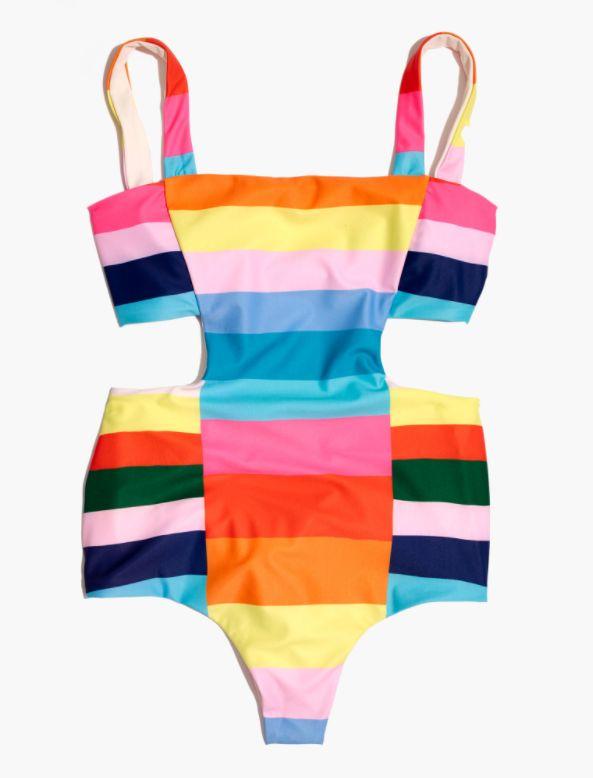 Stripe Cutout One-Piece Swimsuit