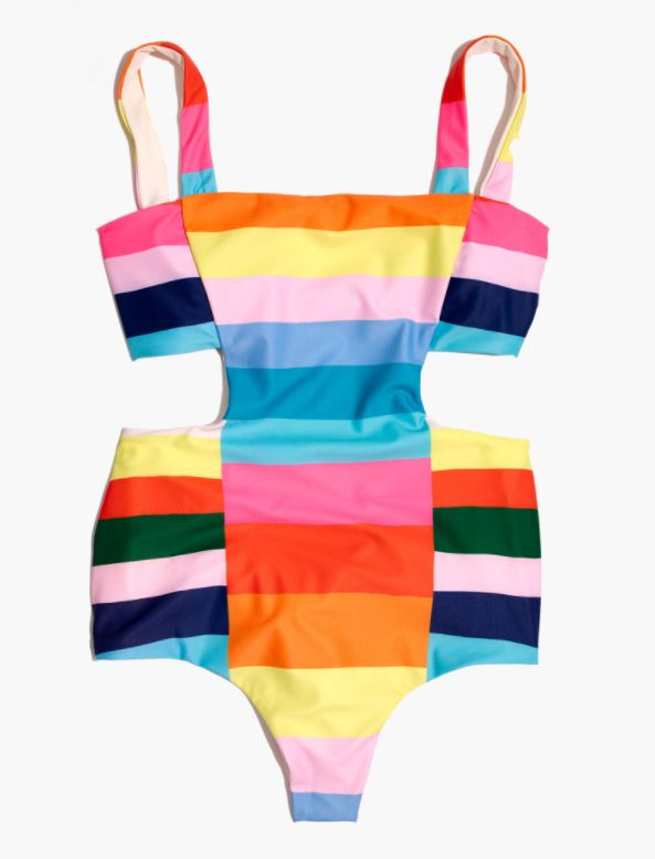 Stripe Cutout One-Piece Swimsuit
