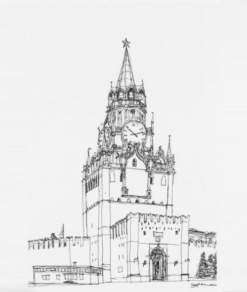 Спасская башня картинки нарисованные, века