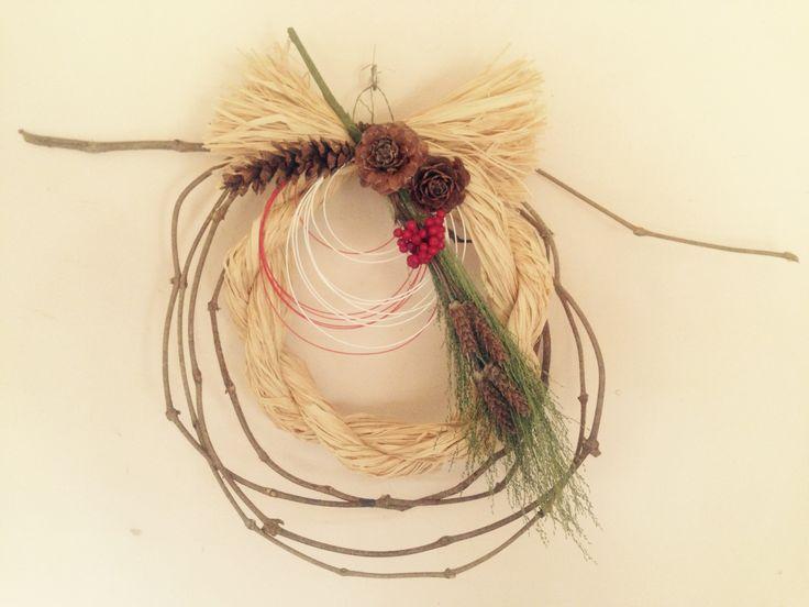 #ツル #ラフィア #色々な松ぼっくり #お正月のお飾り #水引き