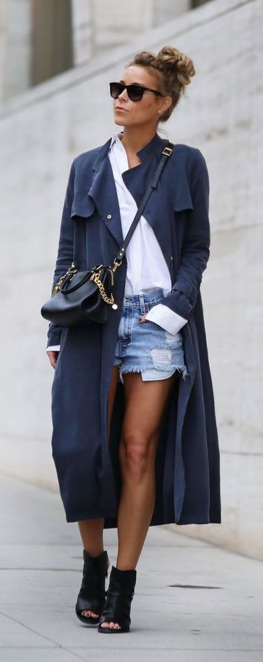 #fall #fashion / navy coat