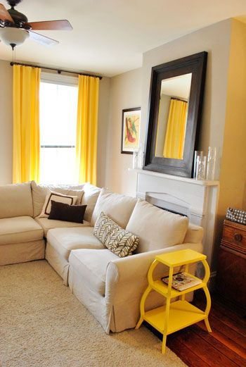 yellowLiving Rooms, Side Tables, Living Room Colors, Yellow Curtains, White Bedrooms, End Tables, House, Accent Colors, Bright Colors