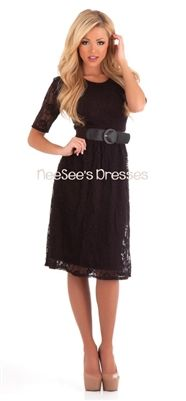 Black Lace Dress with Belt | Affordable Modest Dresses | Trendy Modest Clothing